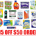 $15 Off $50 Amazon Order of Household Supplies + Free Shipping: Bounty, Tide, Kleenex, Scott, Cotonelle, Oxi-Clean, Ziploc, Cascade, Downy, Clorox, Lysol, Febreeze and over 20 Other Items + Free Shipping