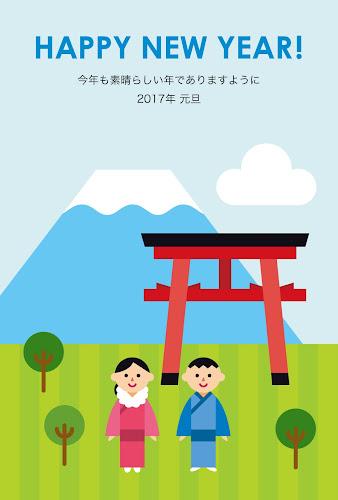 鳥居と富士山のフラットデザイン年賀状