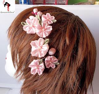 aplique de flores kanzashi, flores sakuras, kanzashiland, kanzashi