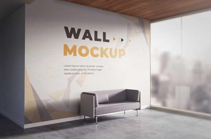 Realistic Backdrop Office Wall Mockup
