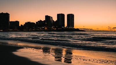 HD Wallpaper Sunset Beach, City, Sand, Sea, Waves