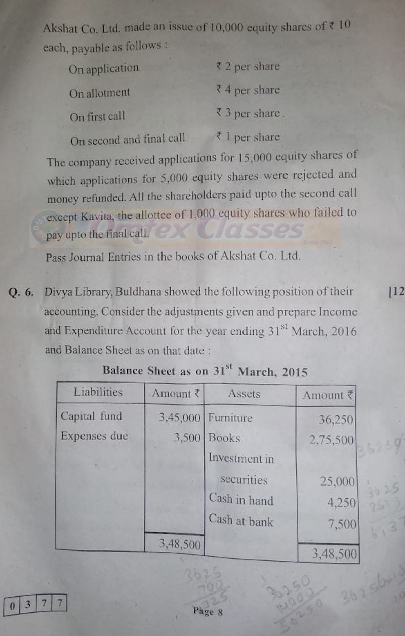 HSC Accounts March 2020 Board Paper With Solution.