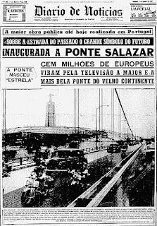 Capa Diário de Notícias - Matéria Ponte 25 de Abril - BLOG LUGARES DE MEMÓRIA