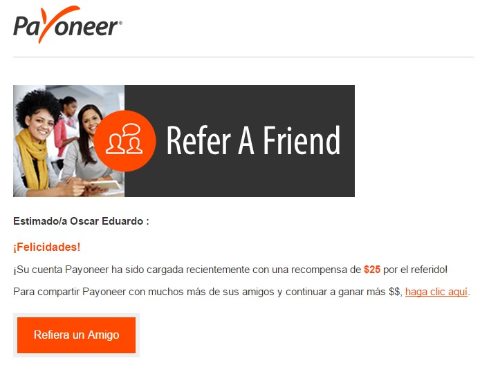 Refer a friend - Payoneer