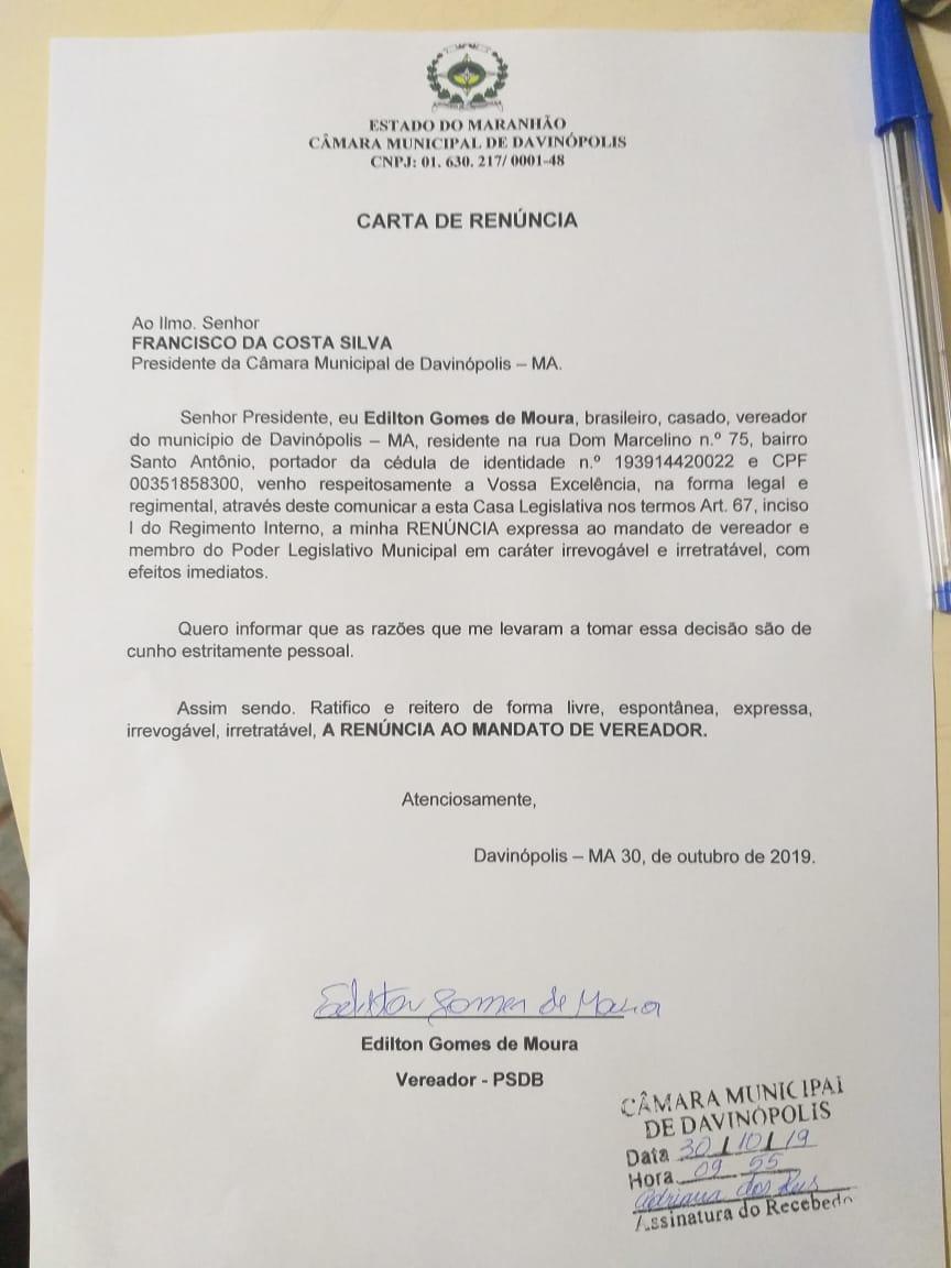 Carta de Renuncia do Vereador Edilton Gomes de Davinopolis