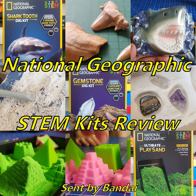 Nat Geo STEM Dig Kits And Ultimate Play Sand Review collage of photos from post