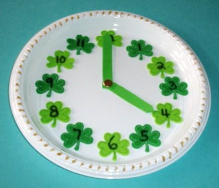 Learning Ideas Grades K 8 Make A Shamrock Paper Plate Clock For