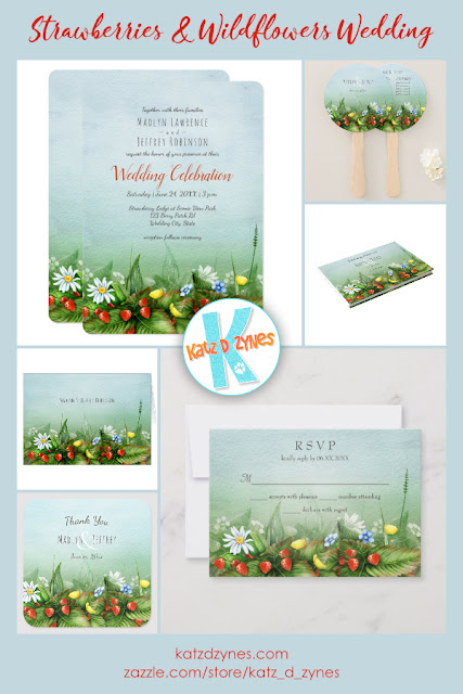 Strawberries and wildflowers custom wedding invitations collection