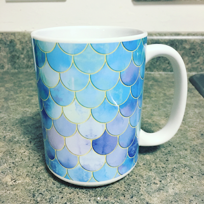 Aqua Pearlescent Mermaid Scale 15 oz. Coffee Mug from Society6