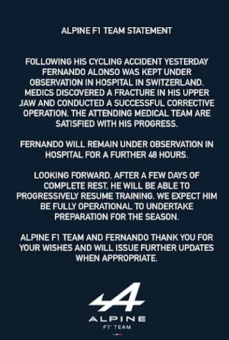 Comunicado oficial Alpine F1 estado Salud Alonso.