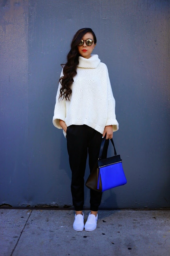 nastygal you're getting warmer sweater, chanel bag, stevemadden boots, peaceloveshea, lespecssunnies,missguided skirt, schutz heels, lovers+friends LA, celine Paris bag, Vans slip on, swag, how to , fall essential, musthave, shallwesasa, oversized turtleneck sweater