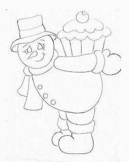 desenho boneco de neve com cupcake para pintar