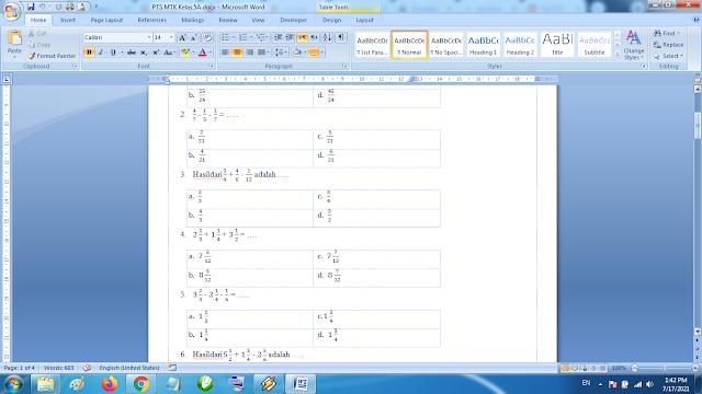 Download Soal PTS Matematika Kelas 5 SD MI Semester 1 Kurikulum 2013 Revisi Terbaru