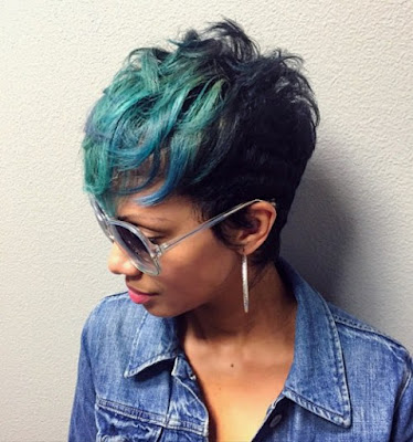 Messy Pixie with Green Highlights
