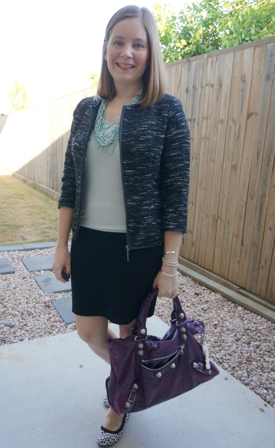 metallic tank statement necklace tweed blazer black pencil skirt in the office with purple bag way to wear | awayfromblue
