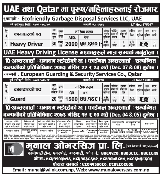 Jobs in Qatar for Nepali, Salary Rs 59,690