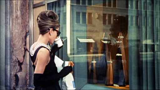Audrey Hepburn in scene from Breakfast at Tiffany's showing beehive hairstyle