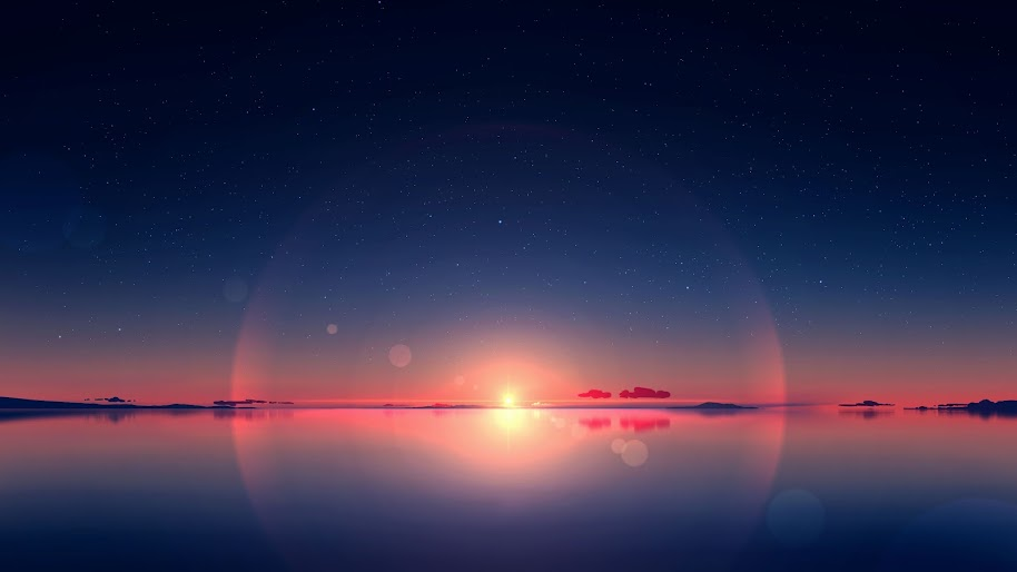Sunrise, Sea, Anime, Horizon, Scenery, Sky, Stars, 4K, #174