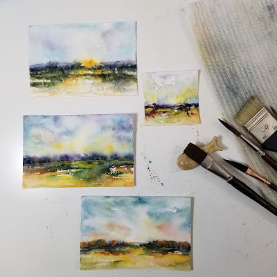 Three pieces of artwork on my work surface.  © Christy Sheeler 2020 All Rights Reserved.