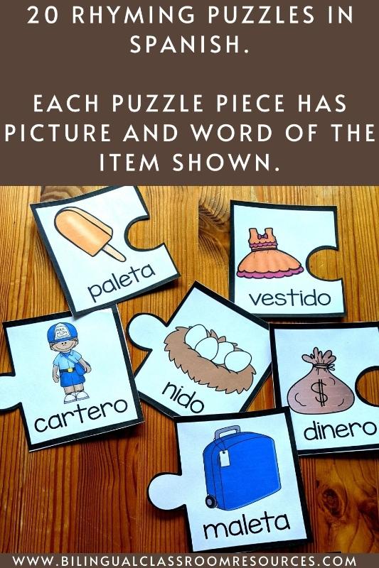 FREE Rhyming Word Puzzles- Juego de Rimas