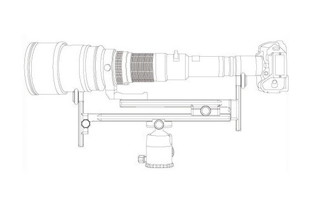 Sunwayfoto YLS-G3 drawing supporting a long lens