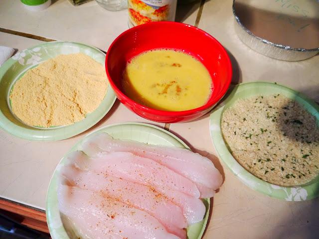Dip chicken in eggs, flour & panko breadcrumb