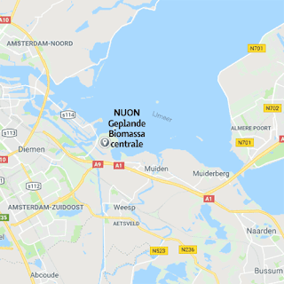 Kaart NUON centrale, Amsterdam-Noord, Zuid-Oost, Weesp, Abcoude, Muiden, Muiderberg, Naarden, Bussum