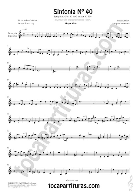 1 Symphony Nº 40 Sheet Music for Trumpet and Flugelhorn Music Scores PDF and MIDI here