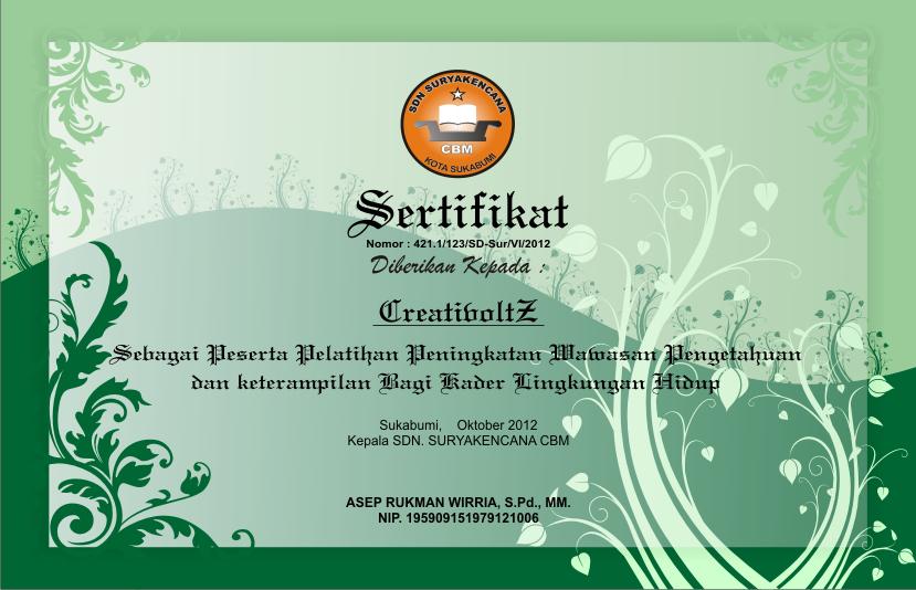 Contoh Piagam Penghargaan Simple Green Cdr Format