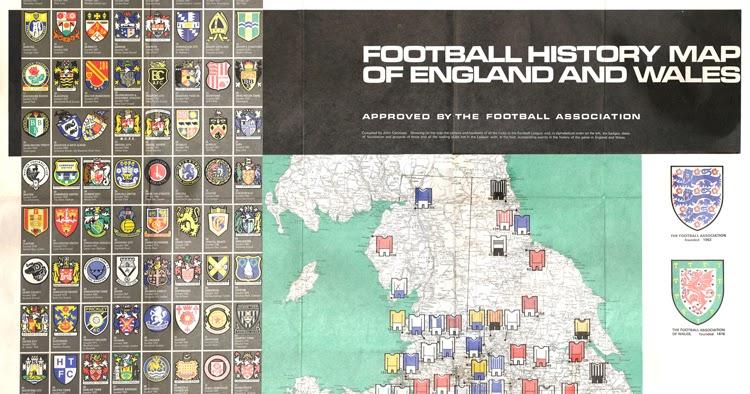 Bartholomew Football History Map Of England Amp Wales 1971