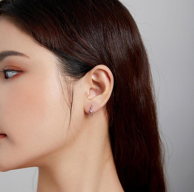 甜甜的愛粉鋯石 925純耳環