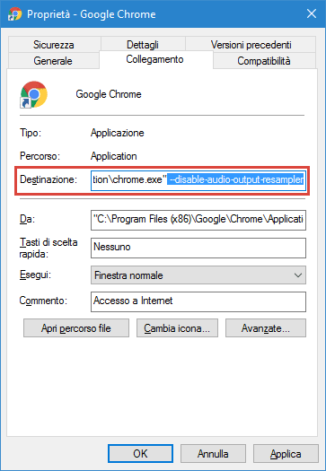 Finestra proprietà Chrome aggiungere flag per audio surround