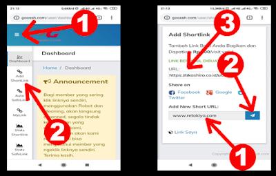 cara membuat link pendek dengan shortlink goossh