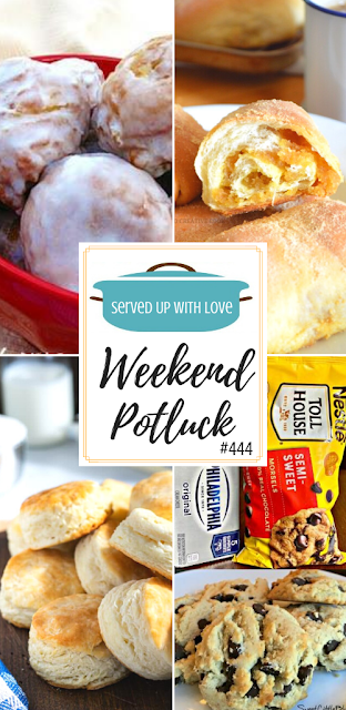 Weekend Potluck featured recipes include Apple Fritter Bites, Buttermilk Biscuits, Spanish Bread, Soft Cream Cheese Chocolate Chip Cookies.
