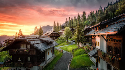 Travel, Village, Road, Houses, Mountains, Sunset