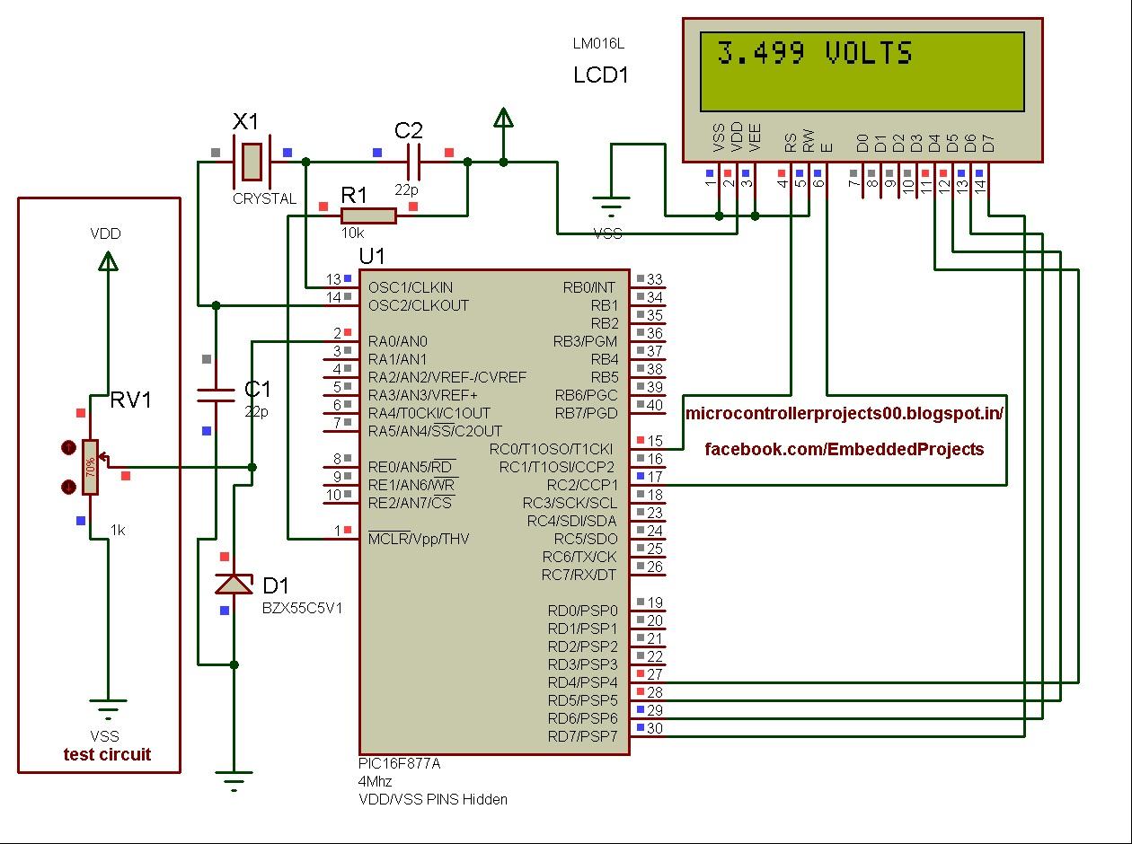 Digital Ac Ammeter Circuit Diagram Trailer Lights Wiring 7 Pin Voltmeter Using Pic Microcontroller