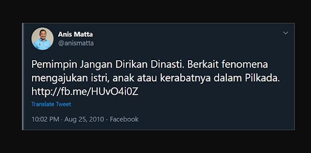 Anis Matta, Dulu Tolak Dinasti Politik Tapi Kini Dukung Anak Dan Menantu Jokowi Di Pilkada