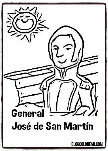 Dibujo para colorear José de San Martín