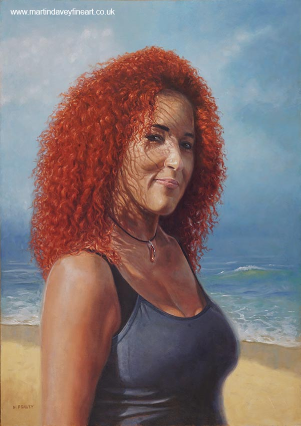 figure of Julie Diaz with red hair in beach setting artwork