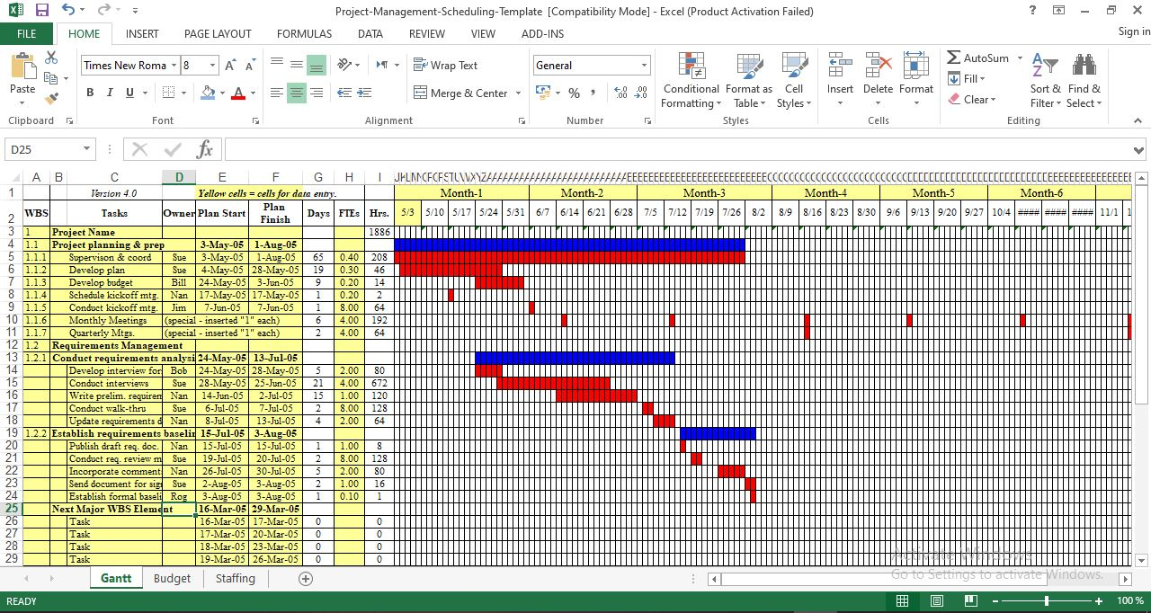 Project management schedule template excel - Free Download