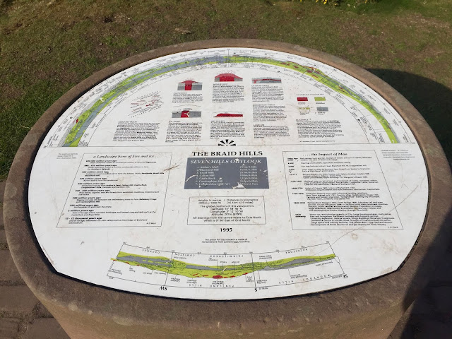 Seven Hills information point on the summit of Braid Hills hiking path, Edinburgh, Scotland