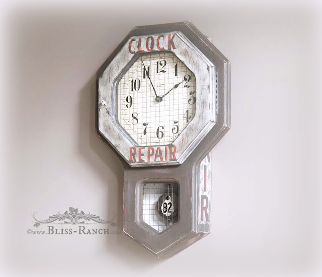 Thrift Store Decor Old Clock Turned into Vintage Ad Bliss Ranch.com
