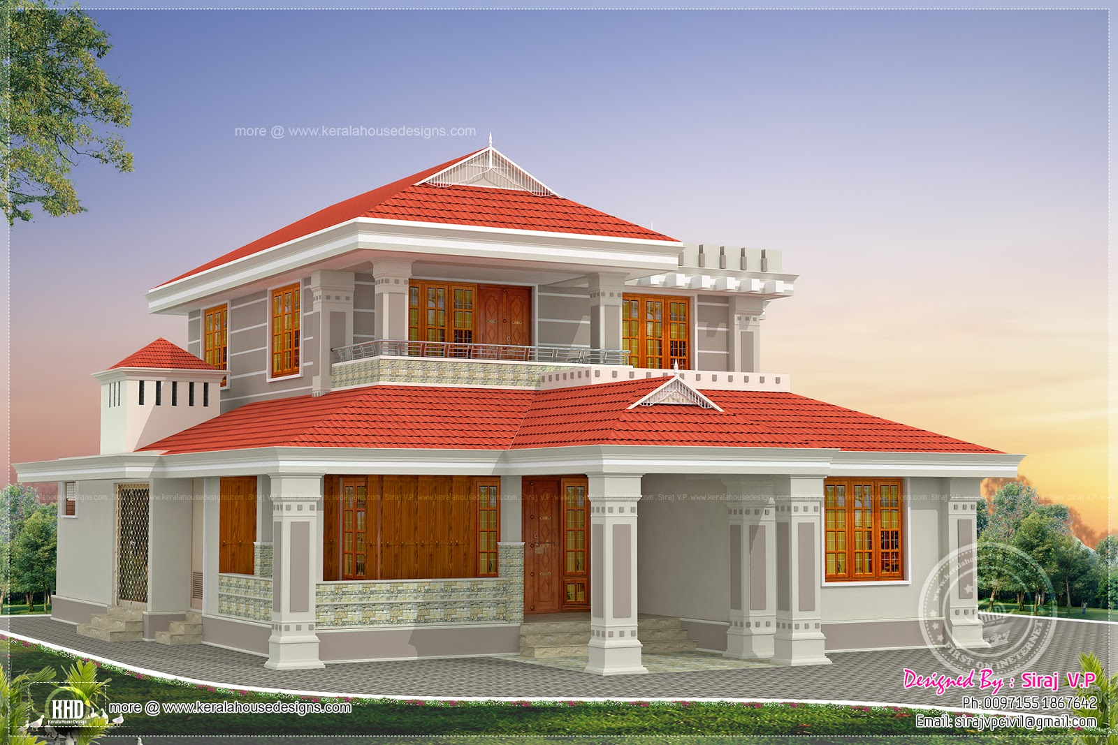 Kerala style beautiful home in 2250 sq ft house design plans for Beautiful house design images