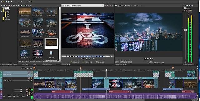 tampilan Sony Vegas Pro 13 sebagai software edit video