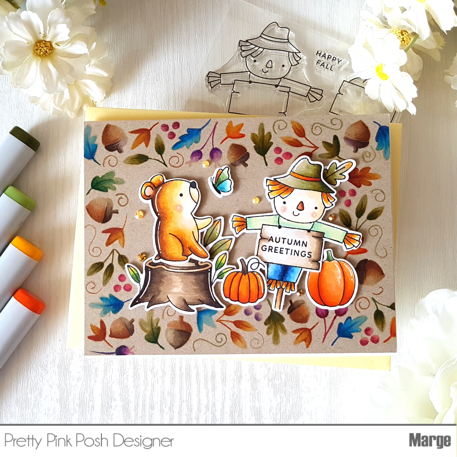 Marge Crafts: Autumn Greetings Card with Copic coloring on ...