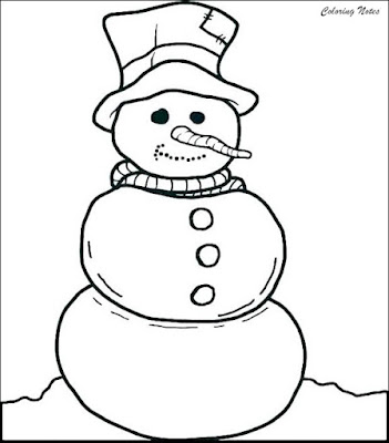 Cute Snowman Coloring Page For Kindergarten FREE