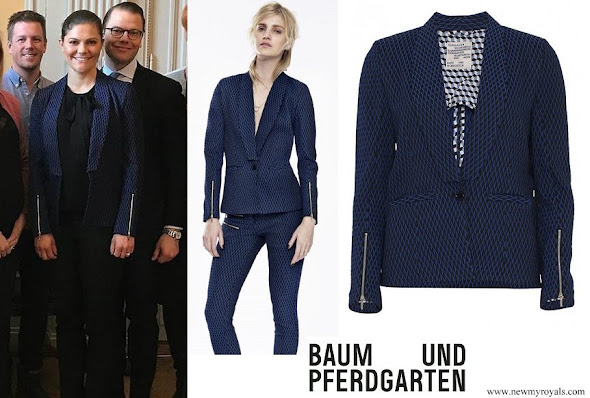 Crown Princess Victoria wore Baum Und Pferdgarten Begonia Blue Check Blazer