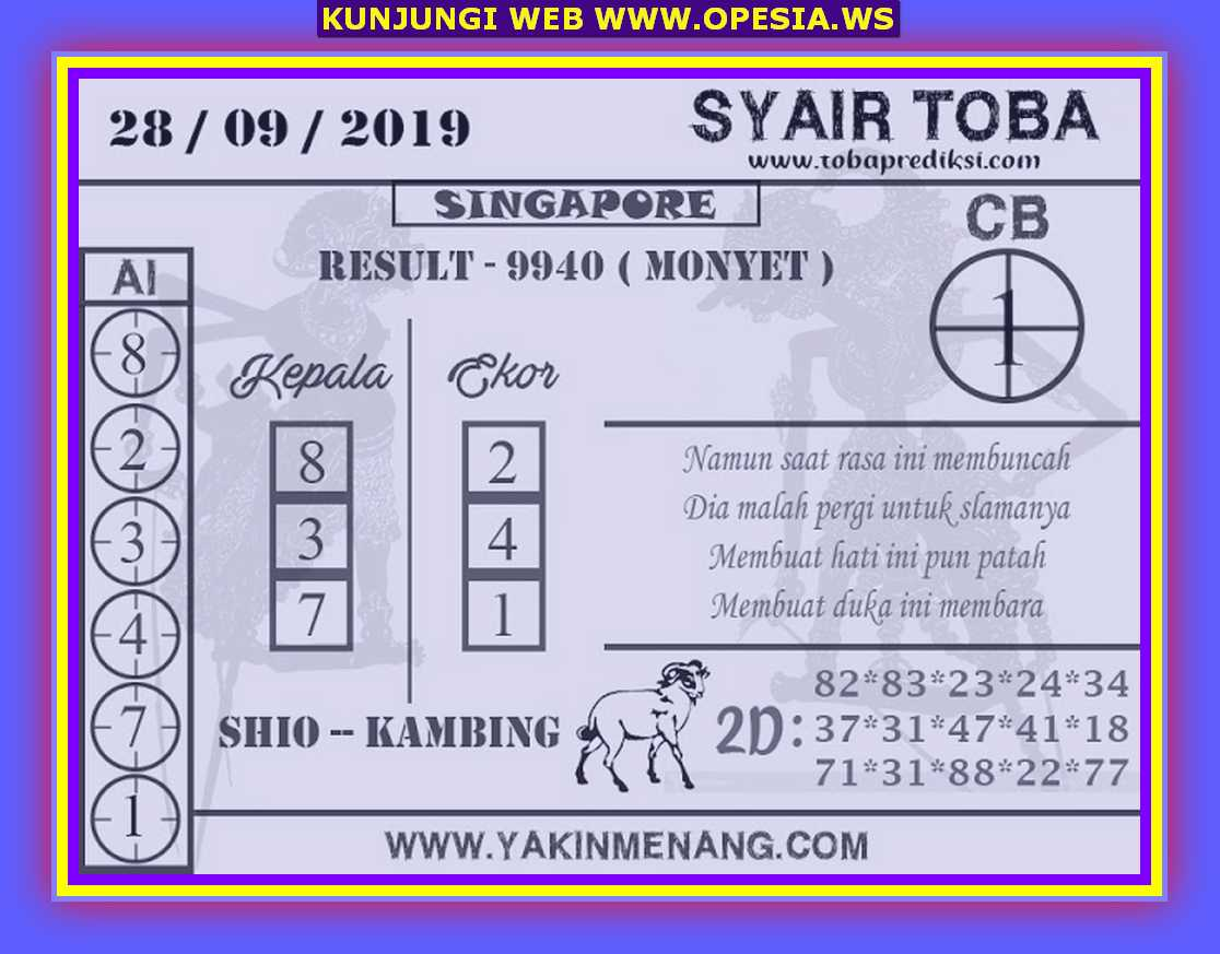 Syair sgp Sabtu 28 September 2019 75
