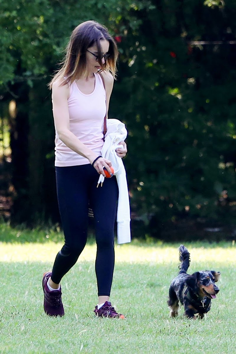 Emilia Clarke Clicked Outside with Her Dog at a Park in London 23 Jun -2020