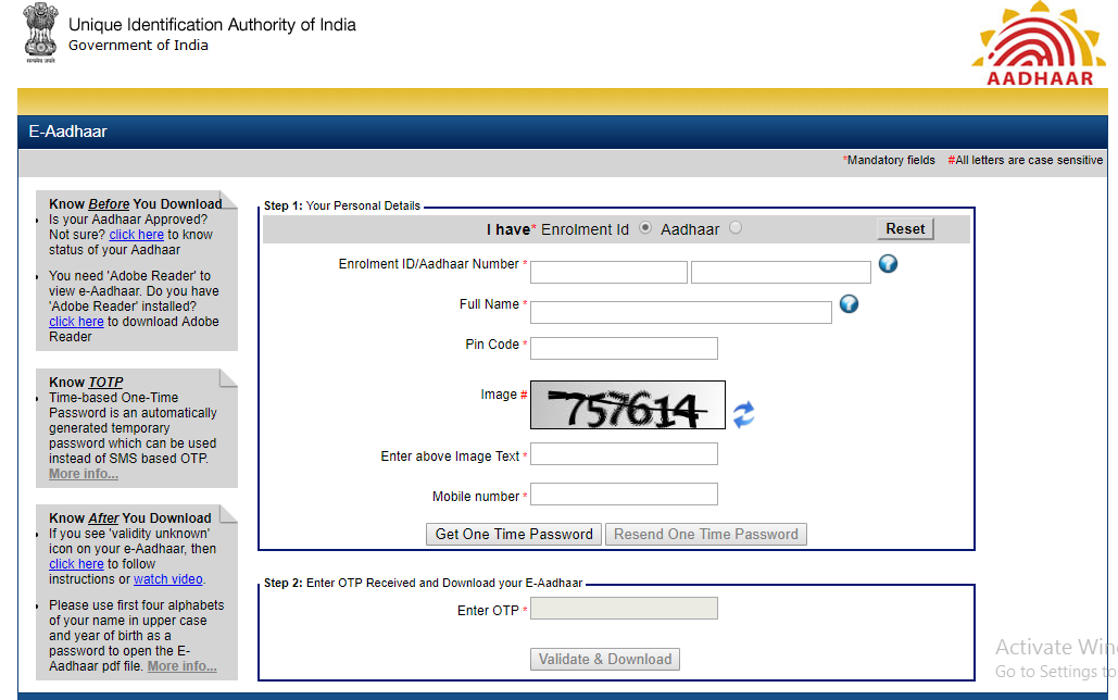 What is the Password to Open Aadhar Card PDF?